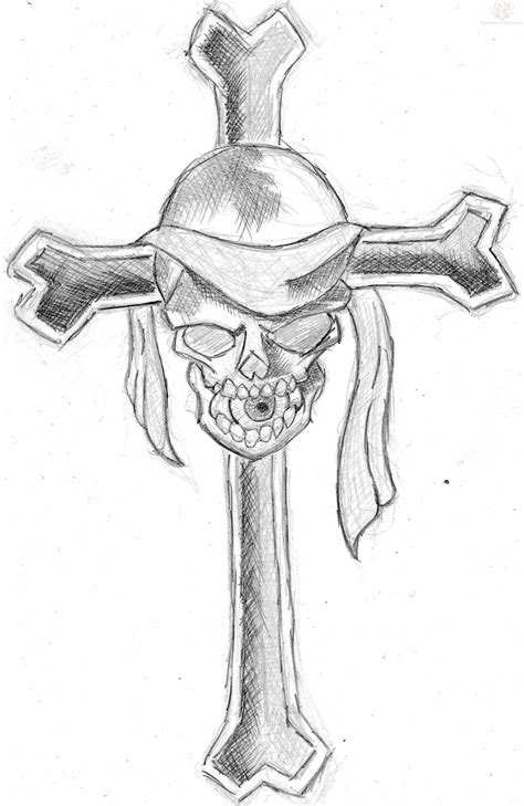 cross and skull tattoos cross and pirate skull design