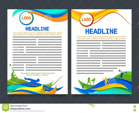 two page brochure template for sports concept stock