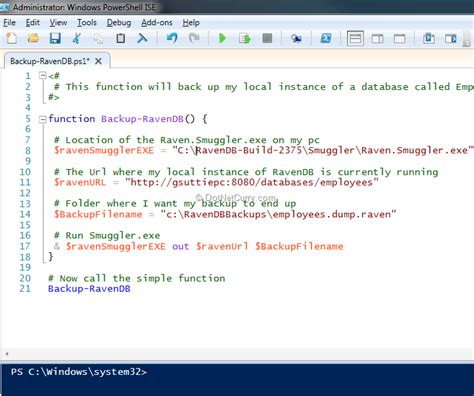 Powershell Function Template automate backups using powershell dotnetcurry