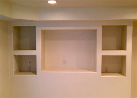 Bathroom Decorating Ideas Budget Open Area Arch Built In Shelves Entertainment Center