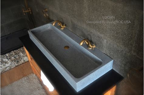 "47"" Double Trough Gray Granite Stone Bathroom Sink   LOOAN"