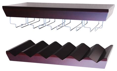 wall mounted wine shelf with glass holder set