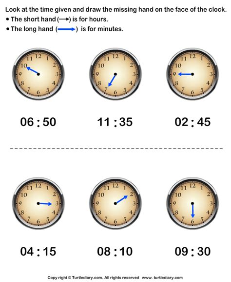 hour hand and minute hand template for crafts