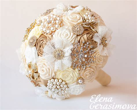 Wedding Bouquet Gold by Brooch Bouquet Gold Silver Ivory Fabric Bouquet Unique