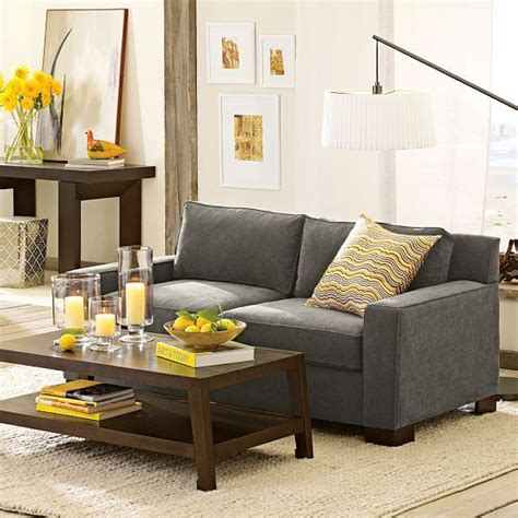 How To Go On Living gray sofa with yellow accents for the home