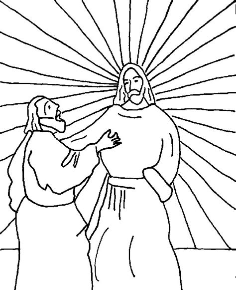 coloring page for doubting thomas jesus with doubting thomas coloring page