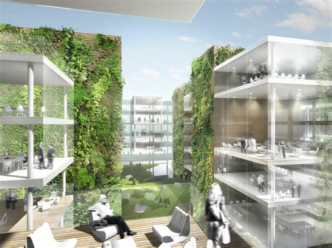 design concept green building office building with green hypercore