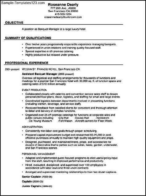combination resume exles combination resume sle banquet manager sle