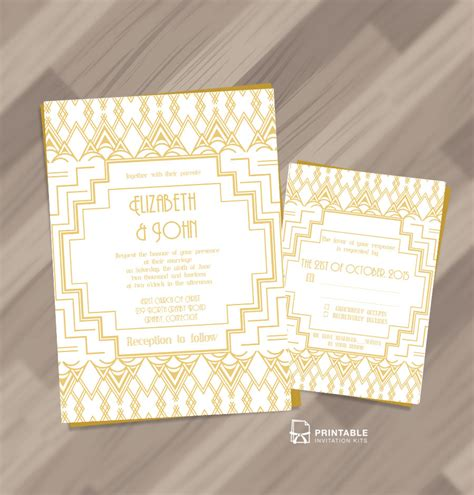 deco wedding invitations templates gatsby inspired deco invitation and rsvp set wedding