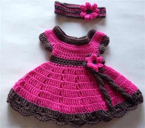 modelo de tejido para ninos aprender manualidades es facilisimo vestido crochet tejido rosa con cafe para bebe nina y bandana