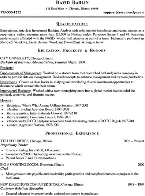 financial analyst resume exle entry level entry level finance resume sles resume ideas