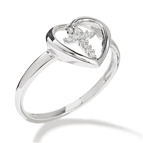 purity promise ring with and cross white gold and