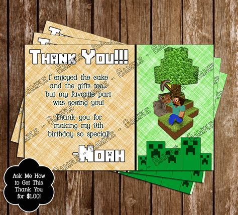 minecraft thank you card template novel concept designs free minecraft inspired birthday