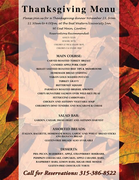 best western thanksgiving menu 2017 northcountrynow