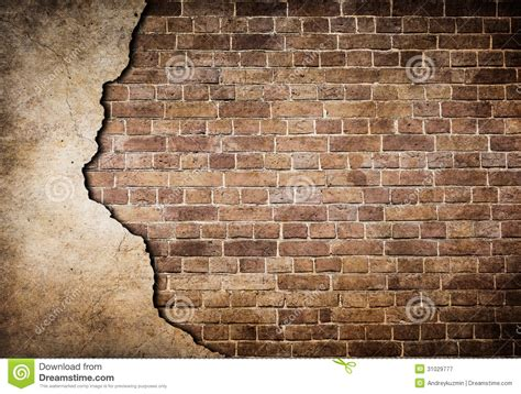 Mur De Brique Wallpaper by Brick Wall With Stucco Partially Damaged Stock Image