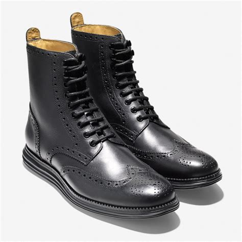 wing tip boots cole haan lunargrand wingtip boots black freshness mag