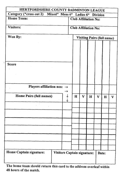 Badminton Score Card Template by Northwood Badminton Club