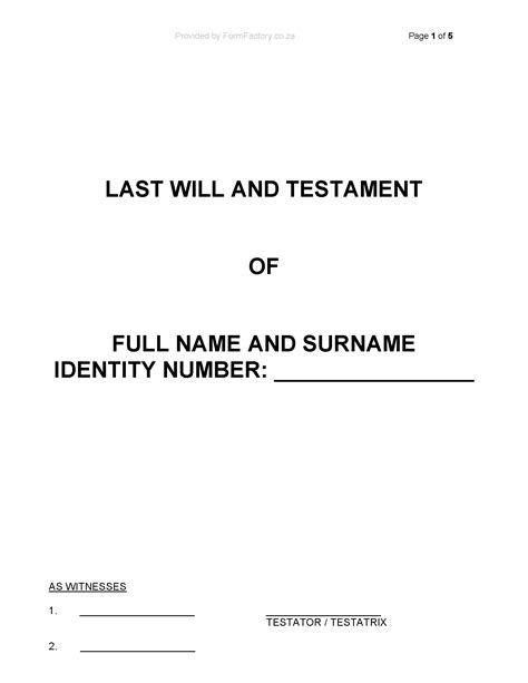 Download Last Will And Testament Template Formfactory Will Cover Template