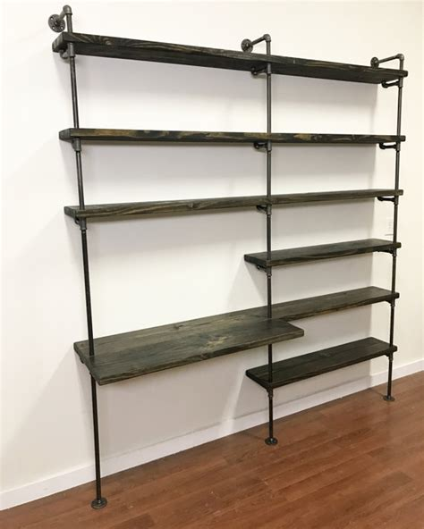 Desk Shelf Unit by Industrial Desk Pipe Shelving Unit With Desk Home Office