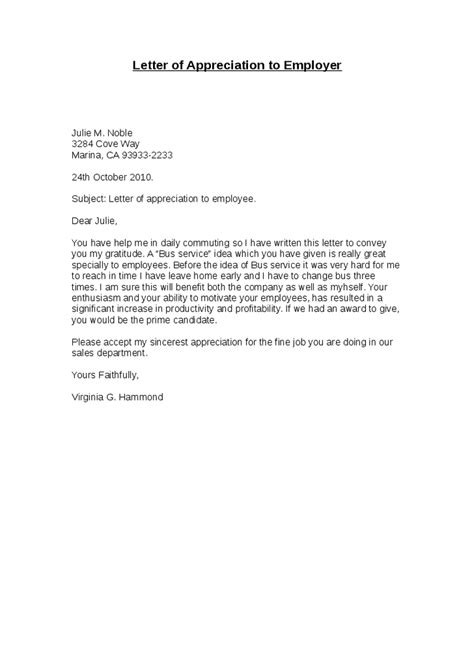 appreciation letter to employees exles letter of appreciation to employer hashdoc