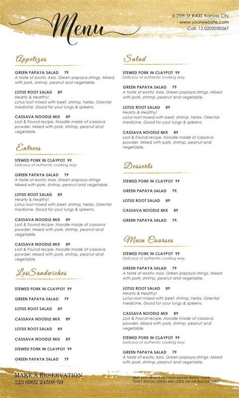 templates for restaurant menus template drink menu template