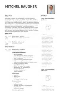 respiratory therapist resume sles visualcv resume