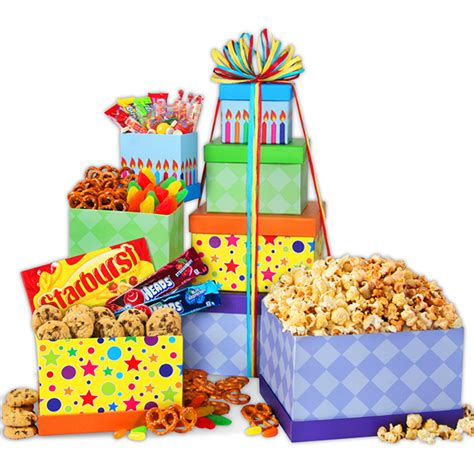 happy birthday gift tower by gourmetgiftbaskets com