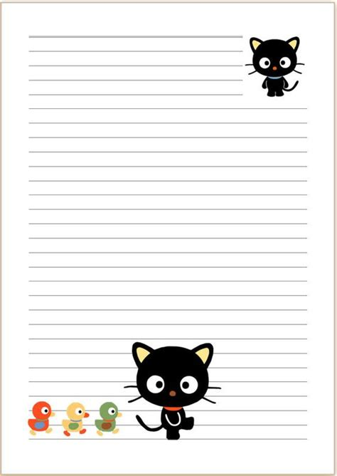 lined paper with cat border writing papers cats and paper on pinterest