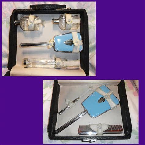 deco sky blue vanity set in original frans