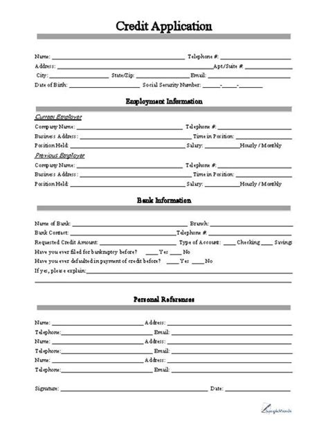 Standard Credit Application Form Template Business Credit Reference Template Free Printable Documents