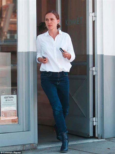 Natalie Portman teams white shirt with jeans on Los Feliz