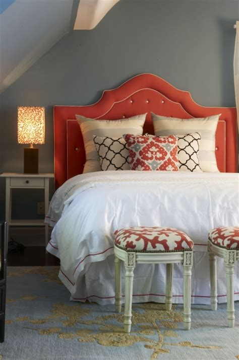 Orange Upholstered Headboard by Just A Touch Of Gray Upholstered Headboards