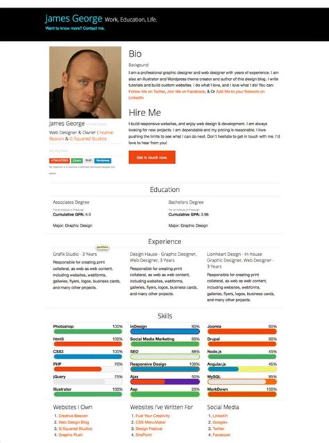 Create A Free Online Resume by Free Bootstrap Resume Template Design Crawl