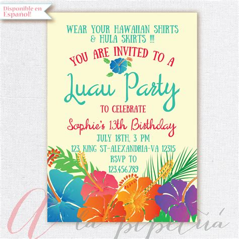 free printable hawaiian luau invitations luau invitation birthday hawaiian invitation