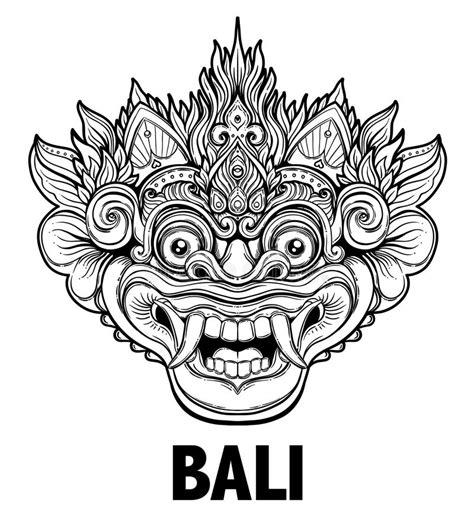 foto tattoo barong barong traditional ritual balinese mask vector