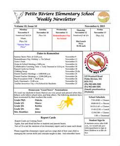 free elementary school newsletter template sle weekly newsletter template 9 free documents