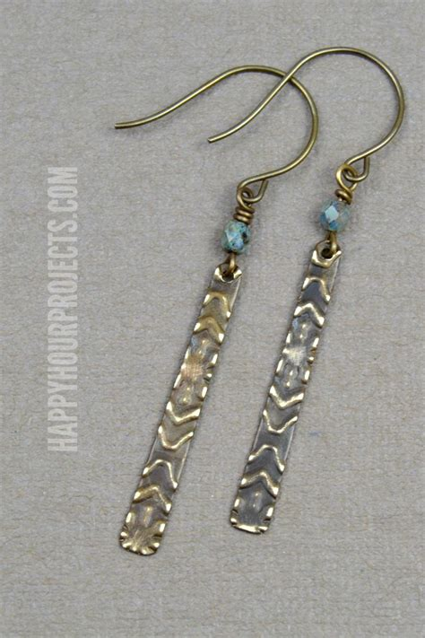 how to make metal st jewelry easy embossed diy earrings happy hour projects