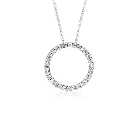 circle necklace in 14k white gold 3 4 ct tw