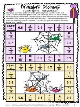 printable games with decimals halloween math games fourth grade fun halloween