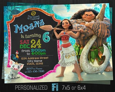 moana birthday card template moana invitation moana birthday moana birthday