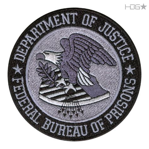 federal bureau of justice bop seal patch large subdued grey hdg tactical