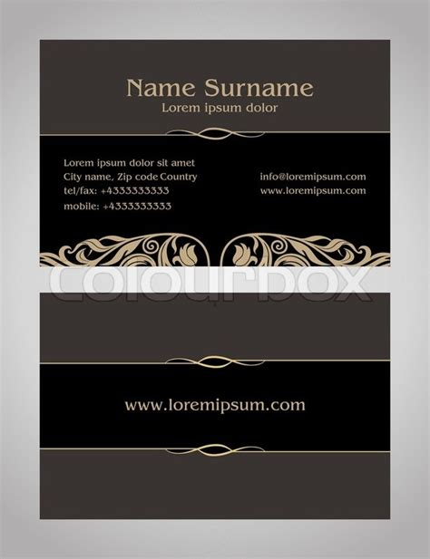 Card Templates Front And Back by Business Card Creative Design Vintage Style