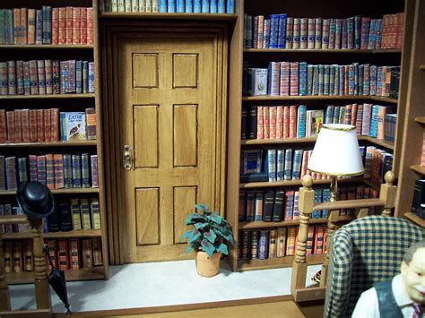 miniatures dollhouse miniature library roombox made mini
