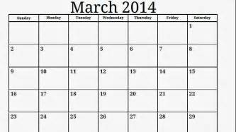Free Printable Calendar Templates 2014 by Blank March 2014 Calendar Printable Printable Calendar