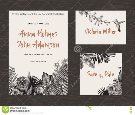 wedding invitation card printing penang vintage vector botanical illustration tropical leaves and flowers stock vector image