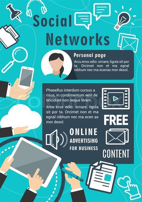 social network vector poster  internet communication