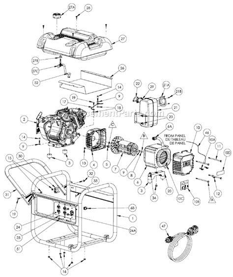 coleman powermate 5000 parts diagram powermate pm0435001 parts list and diagram