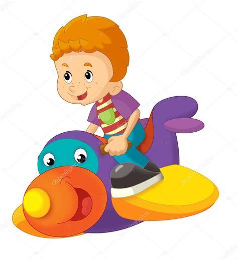 dibujos niños jugando con juguetes dibujos animados de ni 241 o en un avi 243 n de juguete aislado