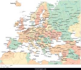 multi color europe map with countries capitals major