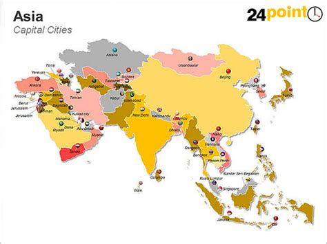list of countries and capitals by continent asian continent map this map shows the capitals of the